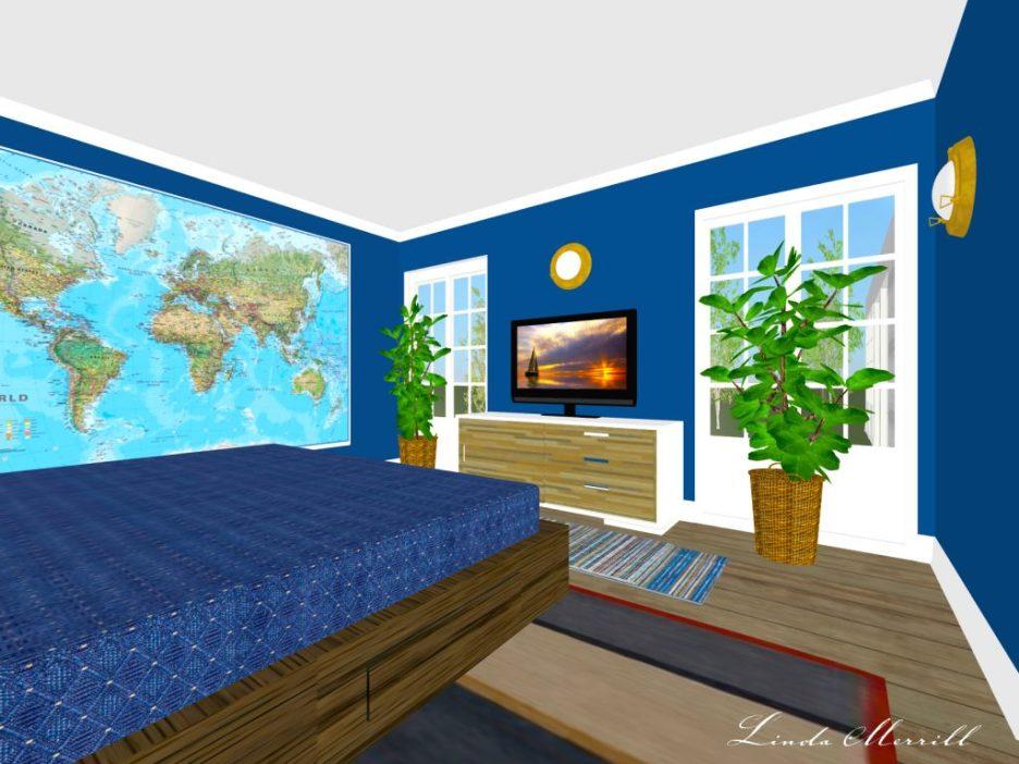 Linda Merrill rendering dark blue bedroom white trim with accessories
