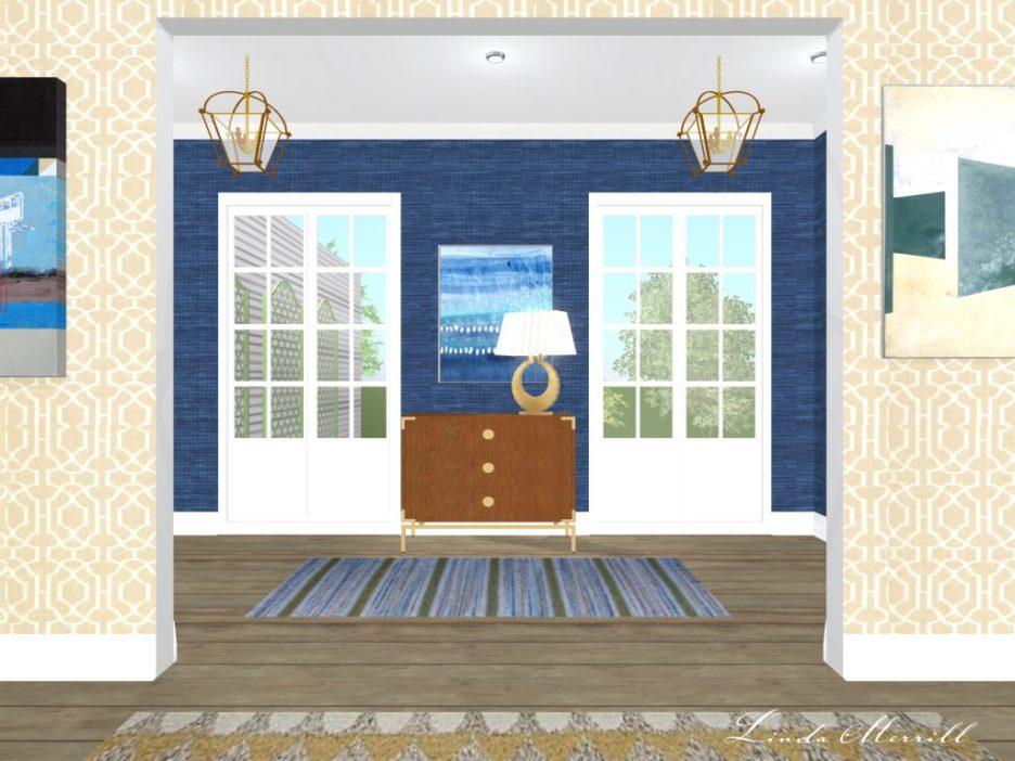 Linda Merrill rendering hallway runner blue grasscloth with accessories