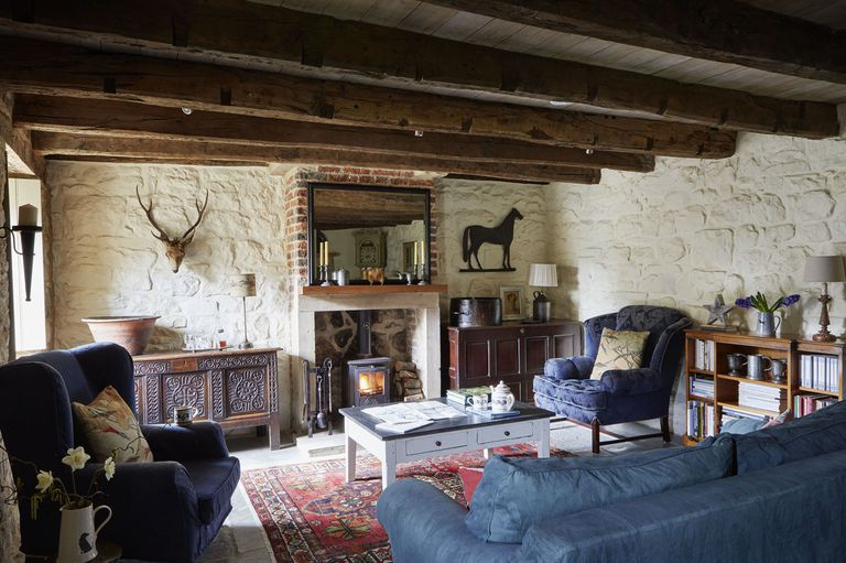 Tudor stone cottage bastle living room photo Brent Darby Country Living stone cottage