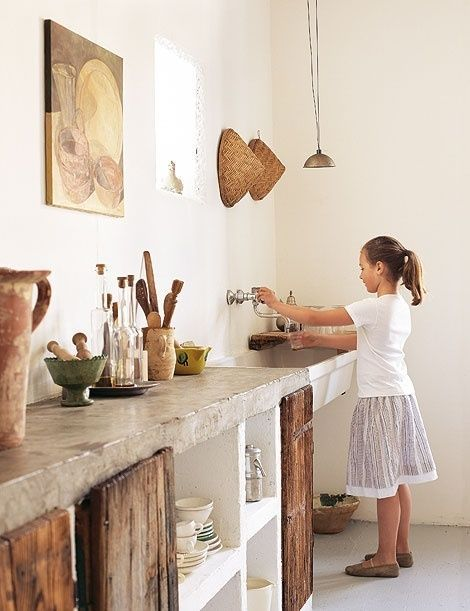 Concrete Counters rustic cabinets little girl at sink Rustic Kitchen