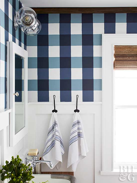 Buffalo check blue how to paint buffalo check better homes and garden bathroom