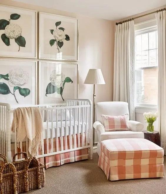 Lauren Elaine Interiors Buffalo check pink nursery vintage nostalgia