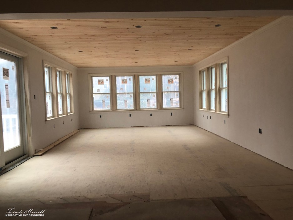 Linda Merrill interior design renderings sunroom family room project building in process 2