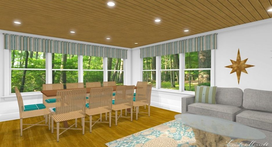Linda Merrill interior design renderings sunroom family room room 3