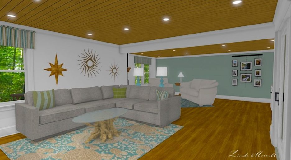 Linda Merrill interior design renderings sunroom family room room 4