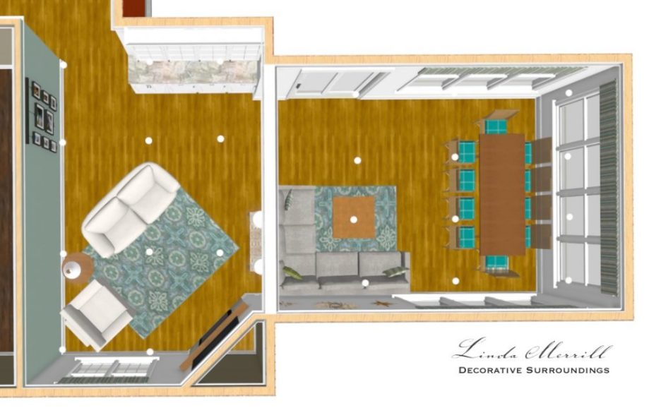 Linda Merrill interior design renderings sunroom family room room overhead view 2