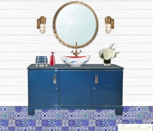London Basin Company Henrietta vessel sink nautical fish blue white red bathroom design Linda Merrill