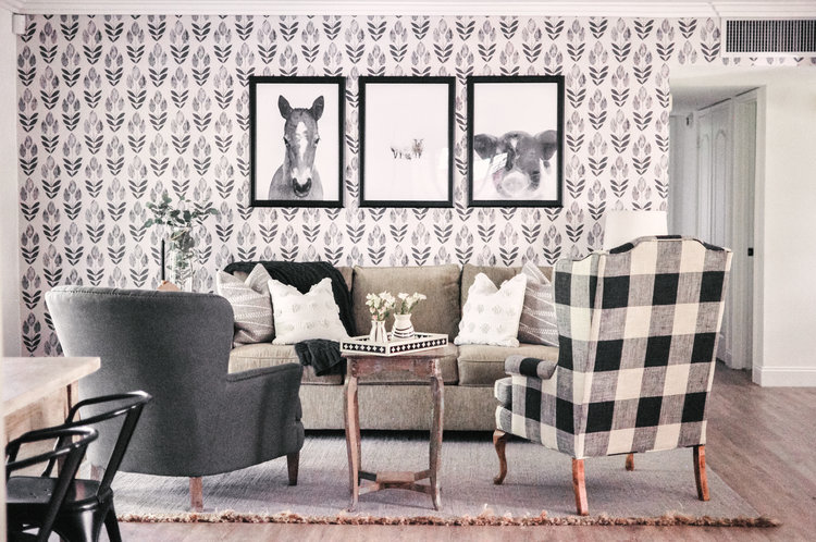 Love and Specs living room buffalo check black and gray
