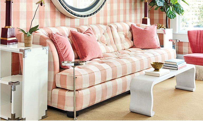 Miles Redd for Ballard Designs Pink Buffalo check living room 2