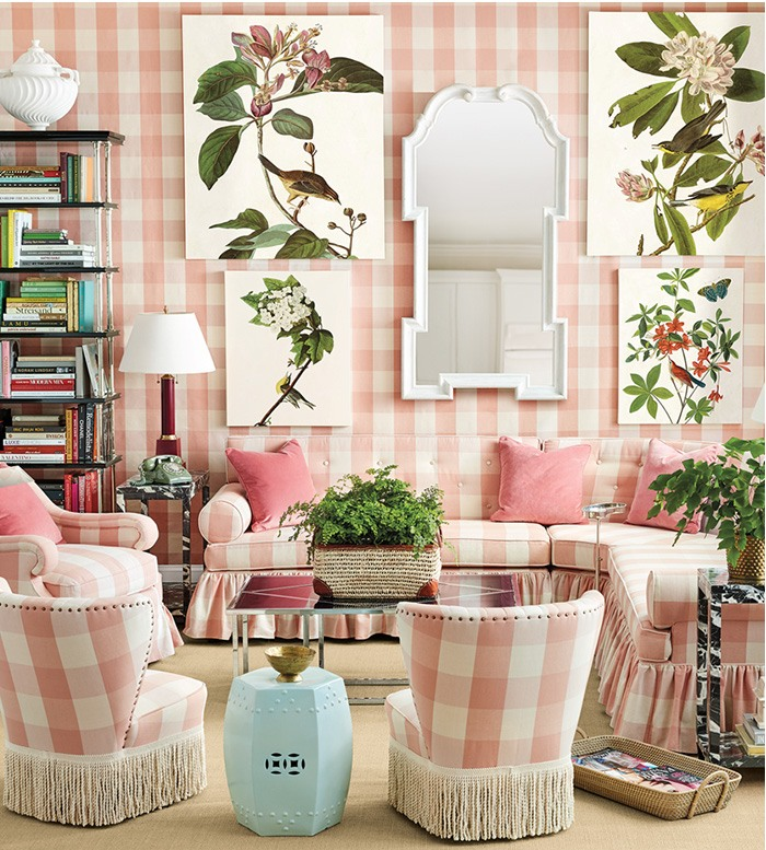 Miles Redd for Ballard Designs Pink buffalo check living room
