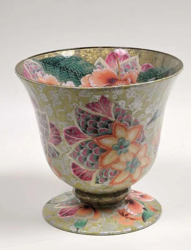 Jill Barnes-Dacey decoupage flower pedestal bowl