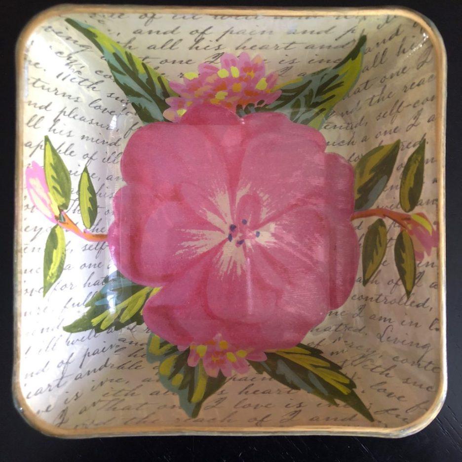 Linda Merrill Decoupage floral square bowl top