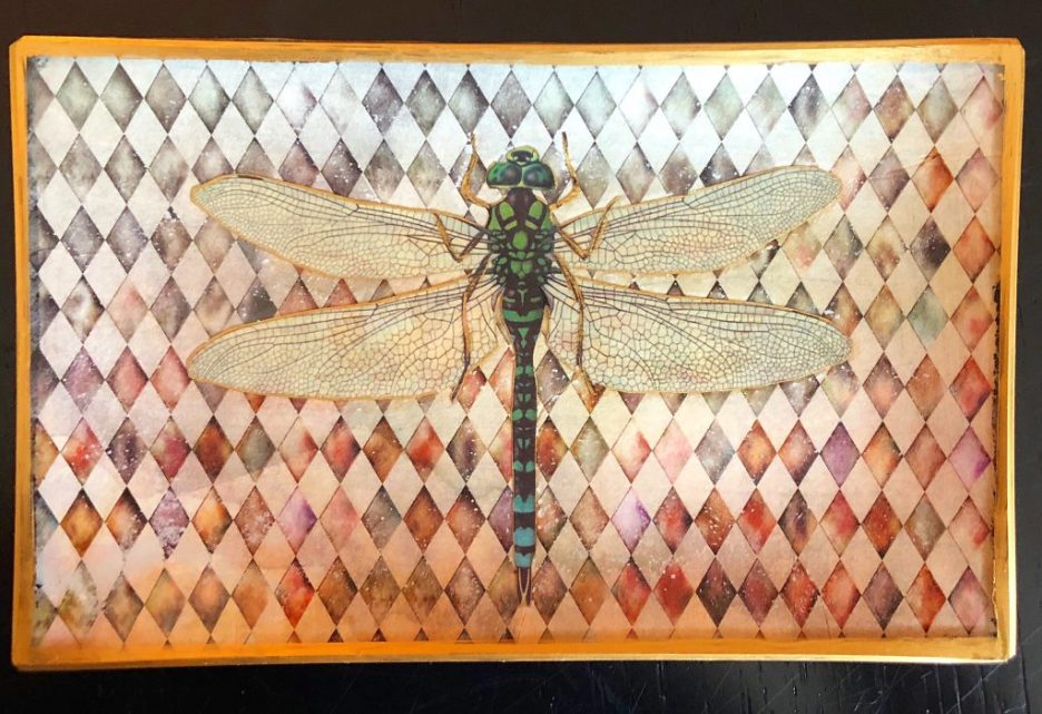 Linda Merrill decoupage tray dragonfly
