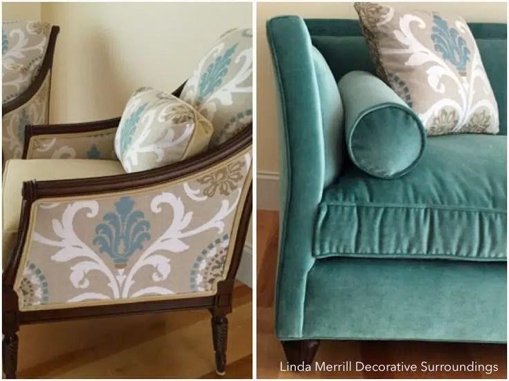 Linda Merrill design Norwell MA velvet sofa embroidered chair upholstery