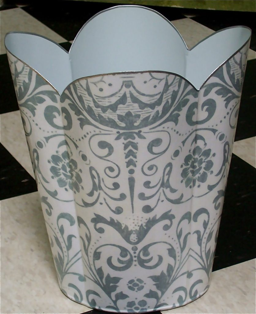 Marye Kelley decoupage my waste basket