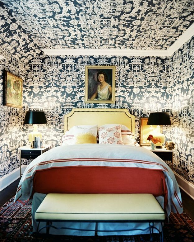 Design David Cafiero. Photography by Patrick Cline Lonny Magazine bedroom Wallpaper ceilings angles