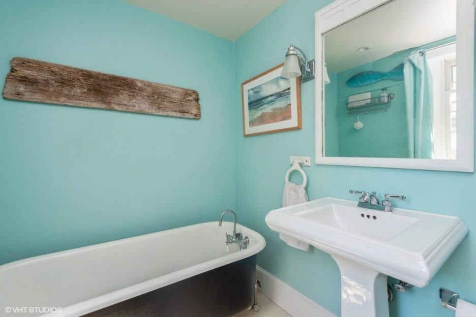 Antique Cape Cod Sandwich MA teal bathroom