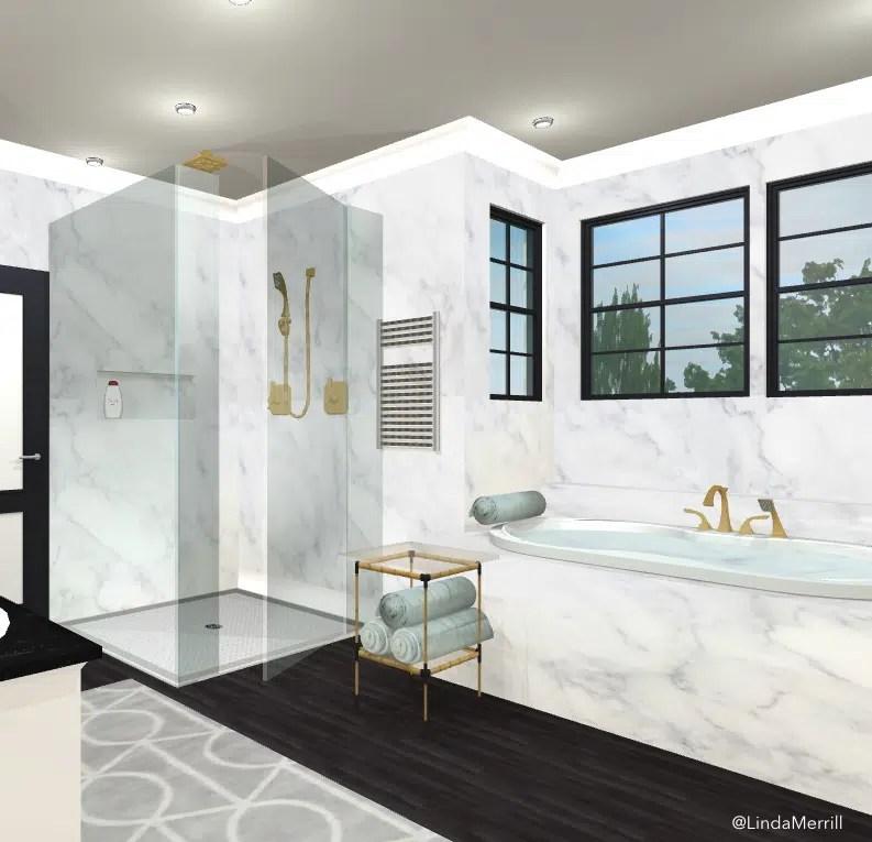 Design Linda Merrill design rendering dream bathroom tiny tables side tables