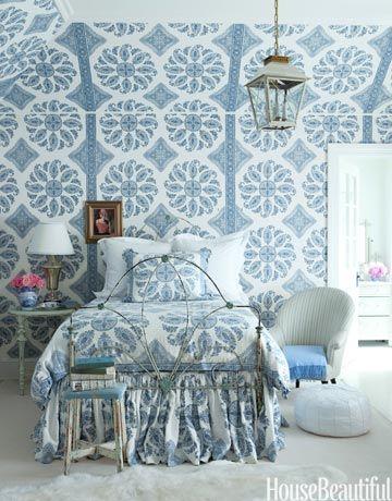 Windsor Smith design blue bedroom wallpaper ceilings angles