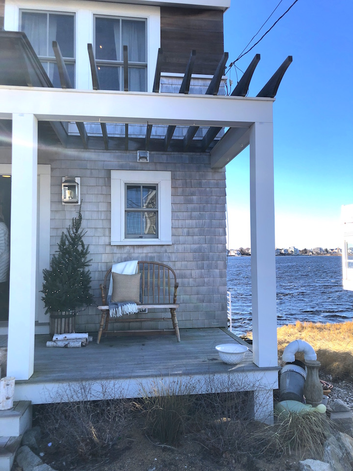 Plum Island waterfront porch Newburyport Christmas decorating house tour 2018