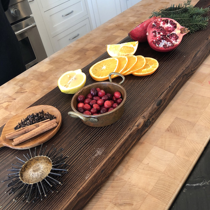 Plum Island kitchen fruit board Newburyport Christmas decorating house tour 2018