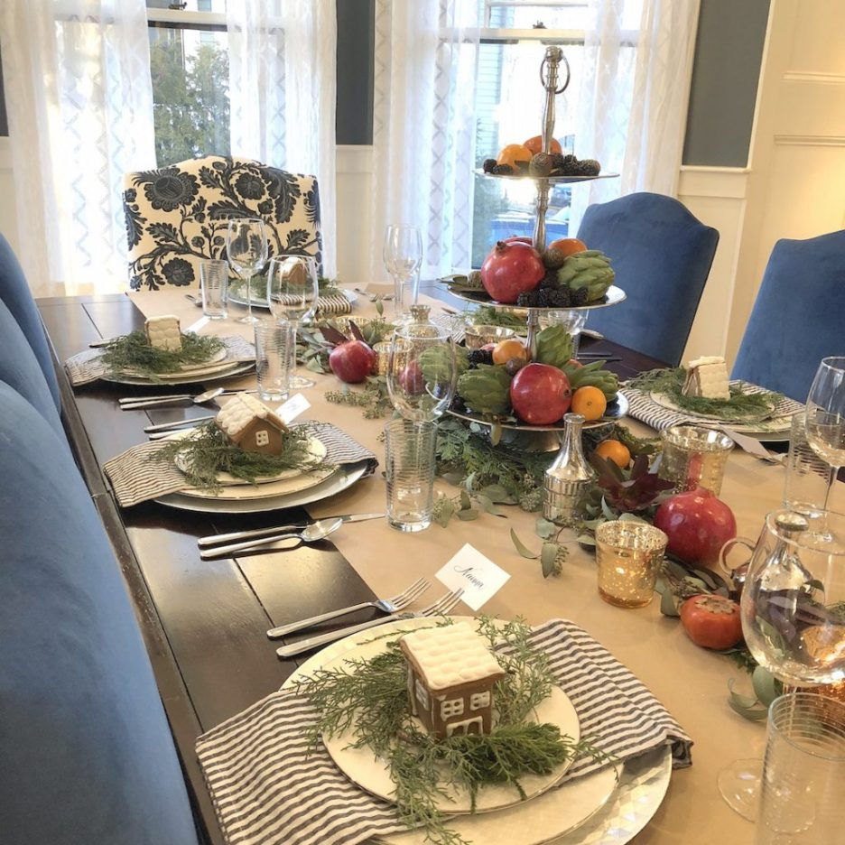 Pond Street dining room table closeup Newburyport Christmas decorating house tour 2018