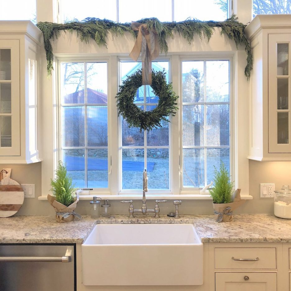 Pond Street kitchen sink window upper windows Newburyport Christmas decorating house tour 2018