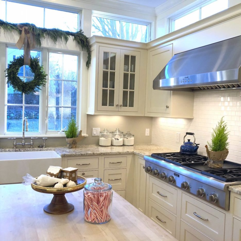 Pond Street kitchen windows Newburyport Christmas decorating house tour 2018