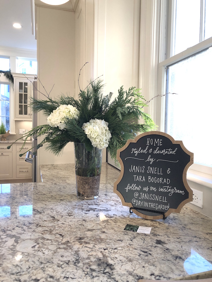 Pond Street kitchen counter flowers credits Newburyport Christmas decorating house tour 2018