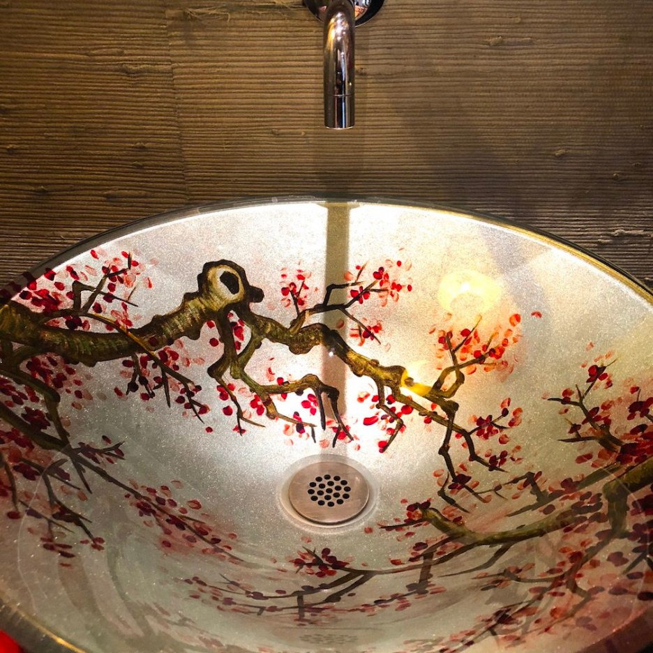 212 High Street bathroom cherry blossom vessel sink christmas Holiday House Tour 2018