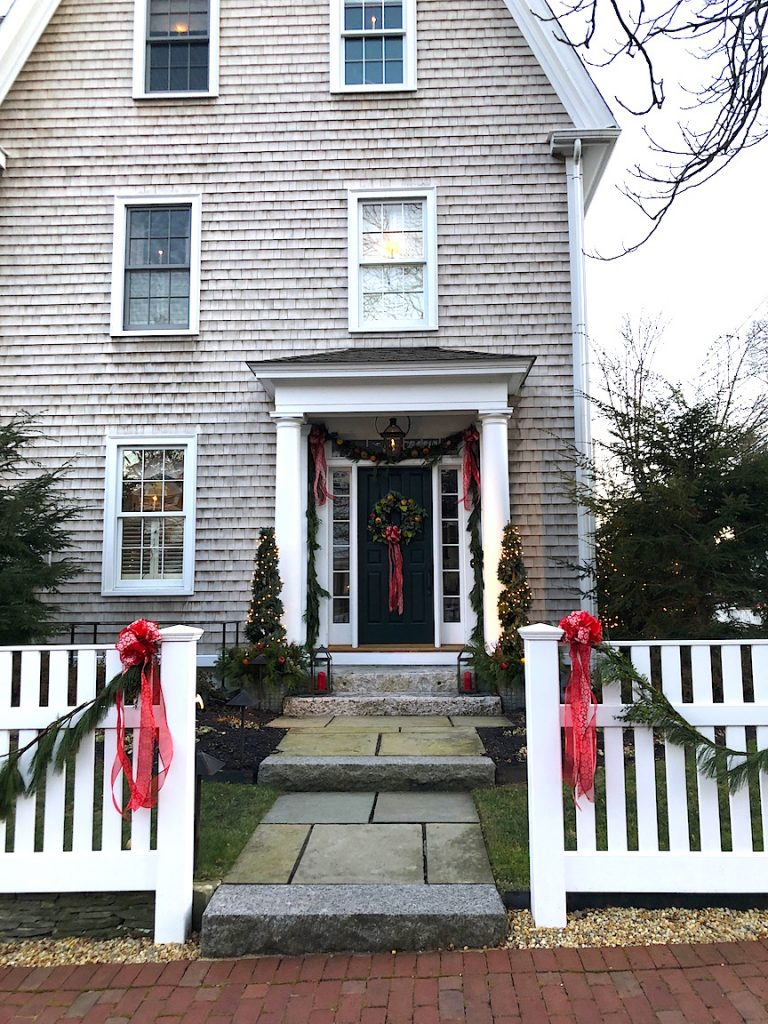 290 High Street Newburyport Christmas decorations white house shingled side door