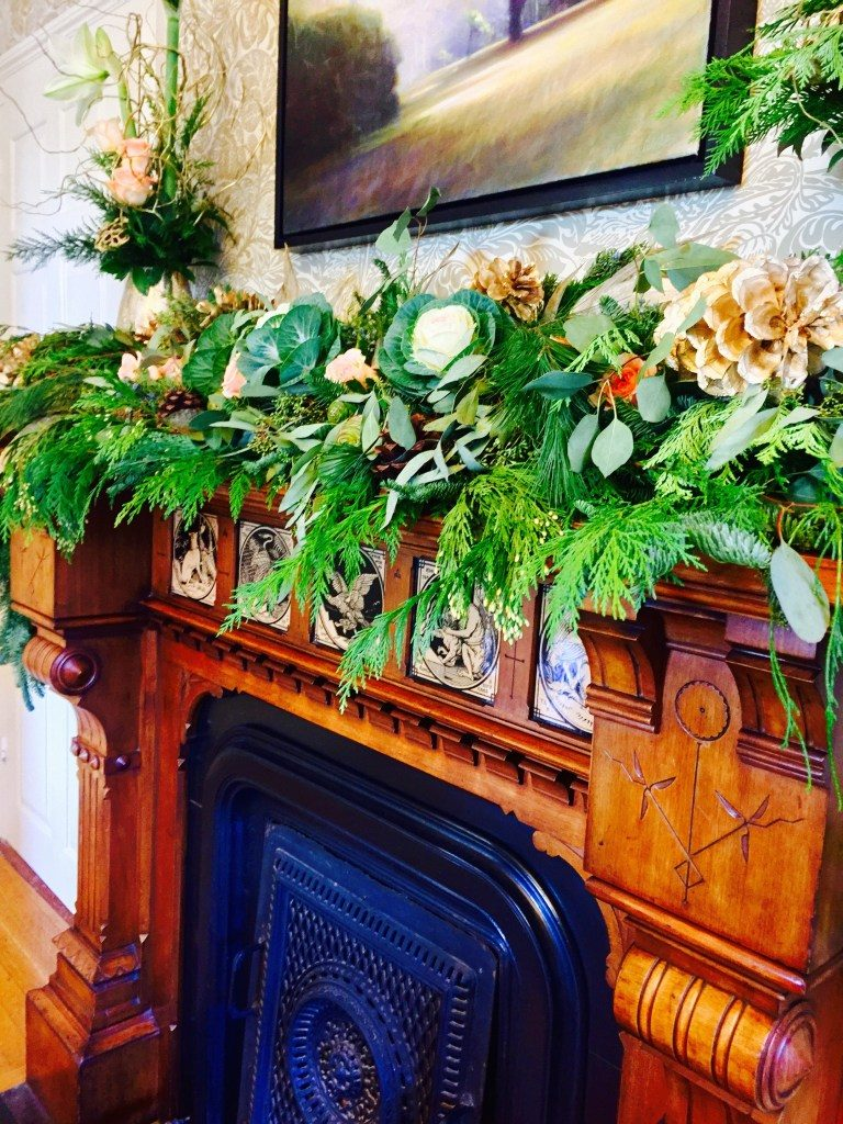 Newburport Christmas antique fireplace mantle decor