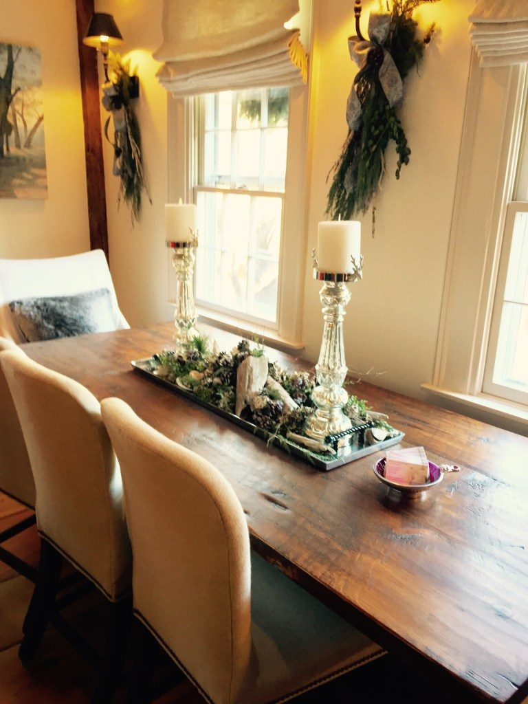 Newburyport Christmas dining table top decor greens display sconces