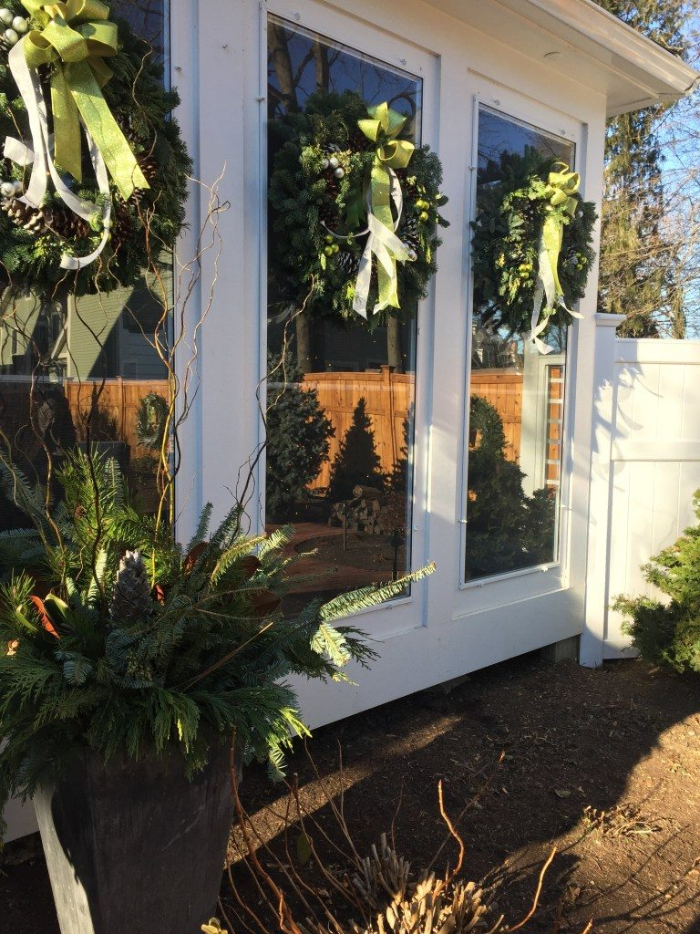 Newburyport Christmas greens and window decor