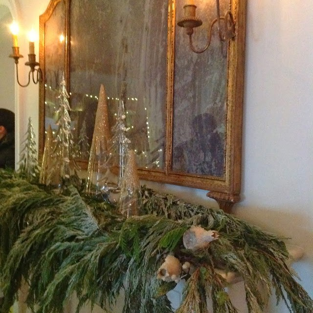 Newburyport Christmas mantle decor antique white and green mirror