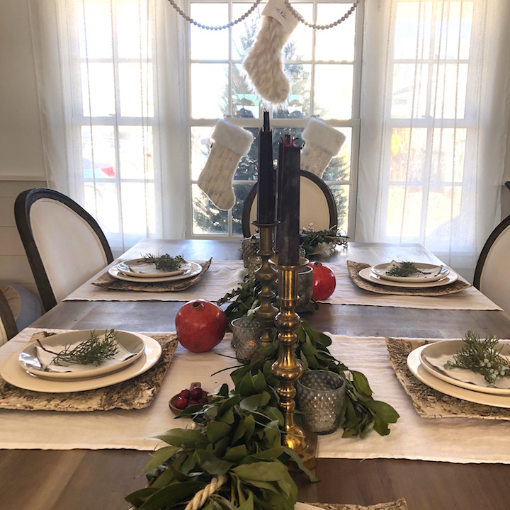 Plum Island Dining Room table closeup Newburyport Christmas decorating house tour 2018