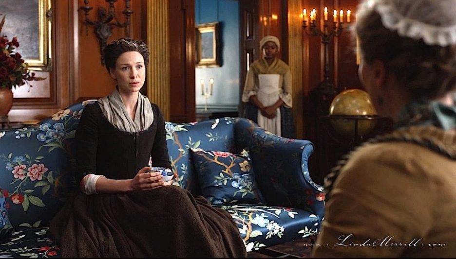 Parlor Outlander River Run Interior house sitting room Claire settee