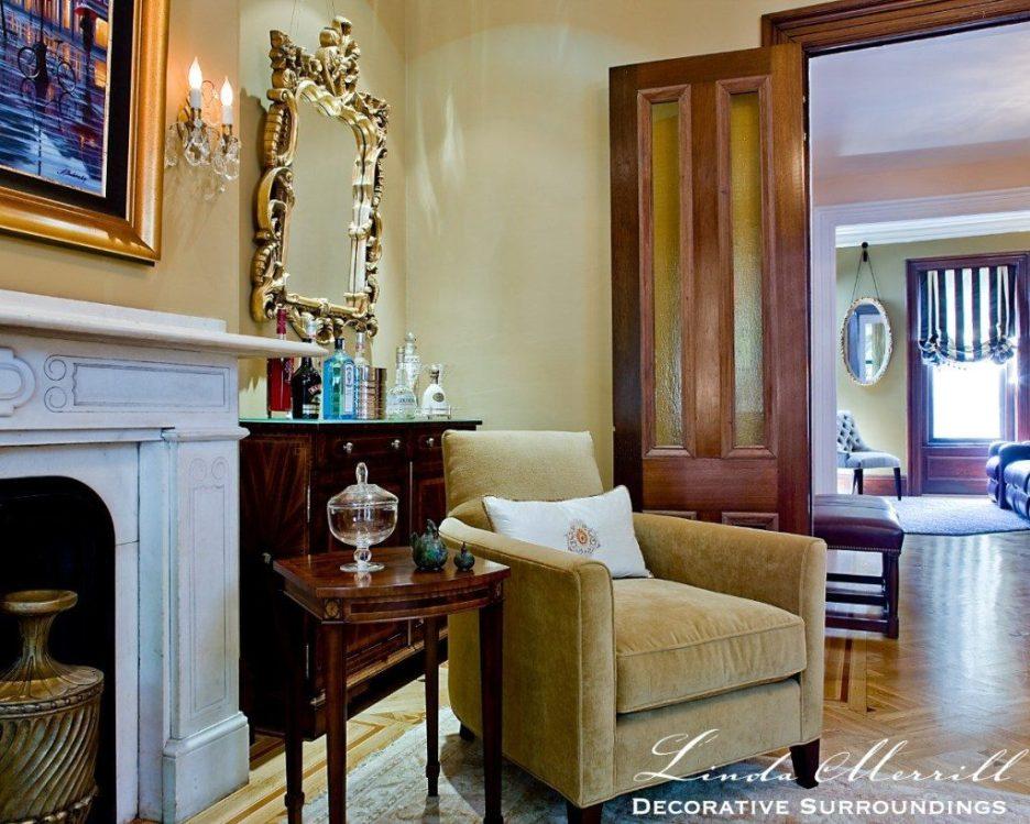 Linda Merrill design South End Boston 02116   michael j lee photography Formal Living Room gold tan Formal family friendly 3