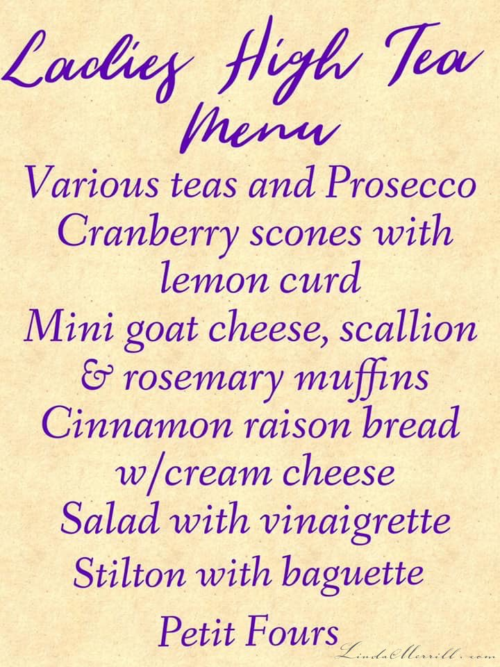 Linda Merrill Ladies High Tea Menu