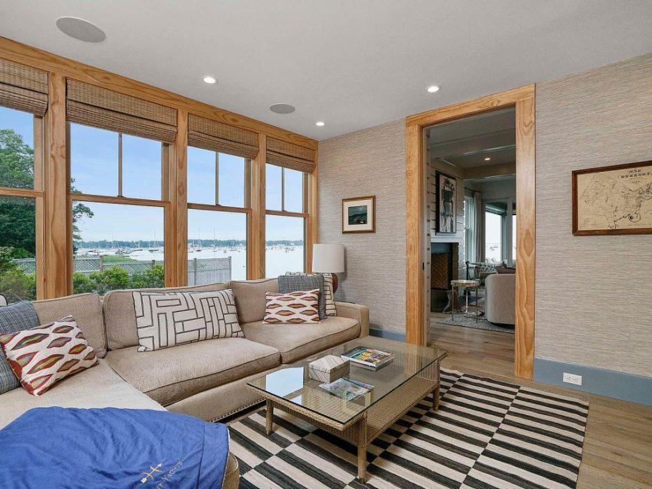 46 Winsor Street Duxbury Bay Ocean view tv room grasscloth 1 Duxbury Bay Home