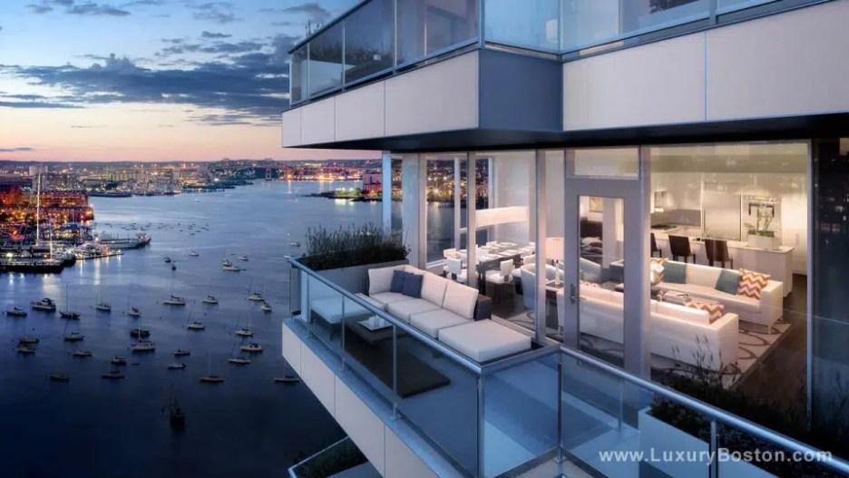 Luxury Boston building in the city exterior