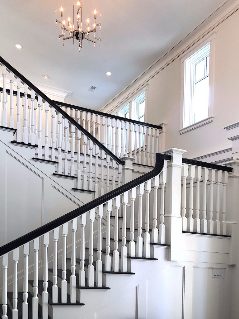 Wilshire Rd Newburyport Kitchen Tour 2019 Modern Black and White Stairs LMM
