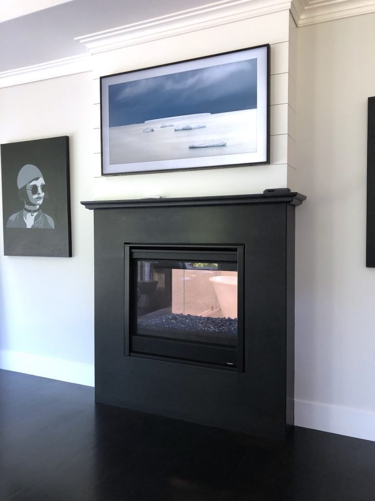 8 Wilshire Rd Newburyport Kitchen Tour 2019 Modern Black and White Master bedroom fireplace LMM
