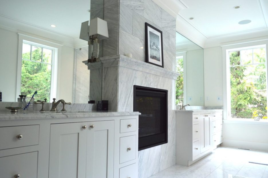 Newburyport Kitchen Tour 2019 Preview white bathroom fireplace Timberline