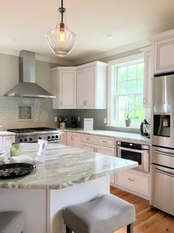 Newburyport kitchen tour 2017 pale green gray kitchen