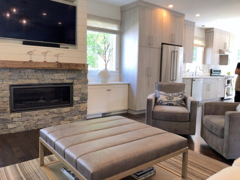 Merrimack St Living Room into Kitchen mid-size stylish kitchens