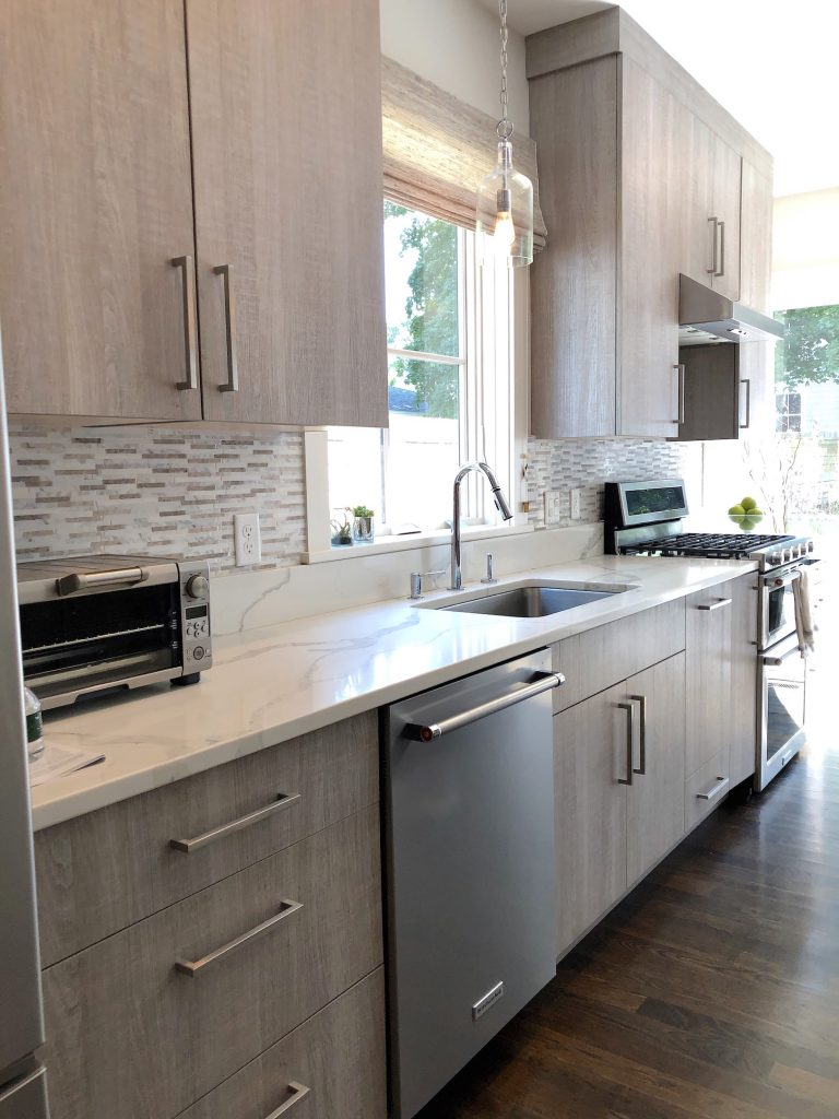 Merrimack St Kitchen sink wall with cabinets mid-size stylish kitchens