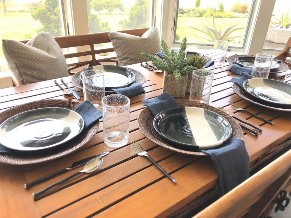 Main St Tablescape dining table Waterfront outdoor kitchen