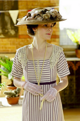 Lady Mary Striped Garden Party Dress