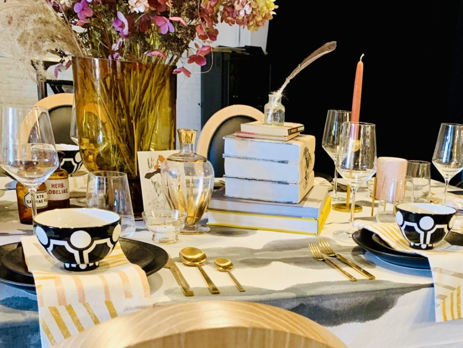 Designer Barbara Elza Hirsch Heading Home to Dinner 2019 Tablescape closeup 2
